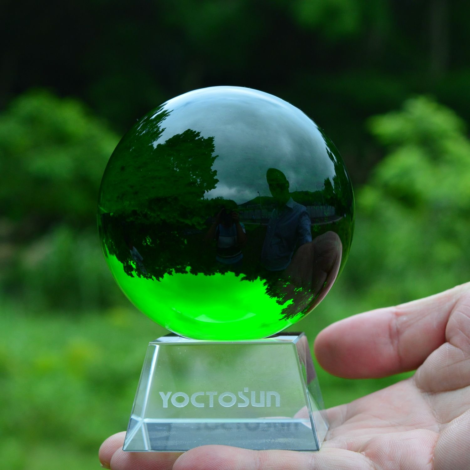 YOCTOSUN Crystal Green Crystal Ball 3.15 inch (80mm) Crystal Sphere Ball with Free Crystal Stand YS-CCMB-G