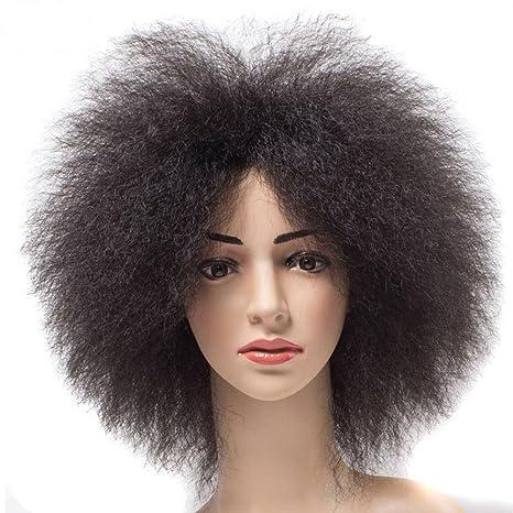 newfeibin sintético corto rizado peluca afro Kinky African American Super Fluffy Pelucas Para Las Mujeres Negro