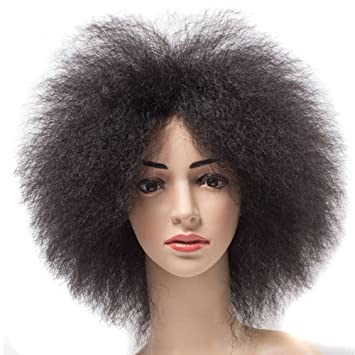 NEWFEIBIN Synthetic Short Kinky Curly Afro Wig African American Super  Fluffy Wigs For Black Women 12 quot c5bebf2a71