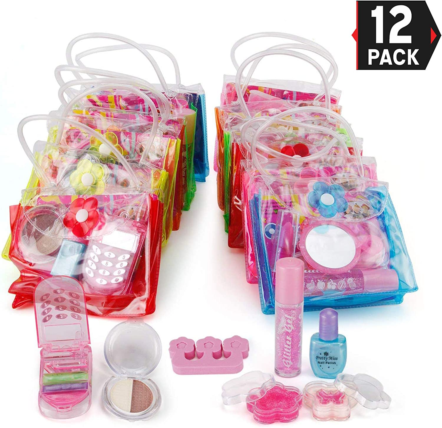 Liberty Imports 12 Petite Girls Cosmetic Sets in Bag - Washable and Non Toxic Real Makeup Kits - Bulk Pretend Play Party Favors Gifts (1 Dozen)