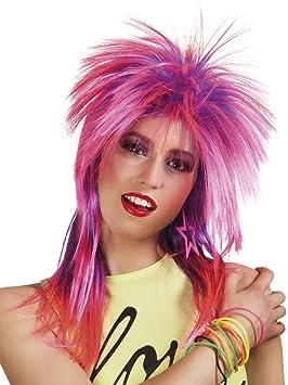80 años Mullet peluca rosa rockerin