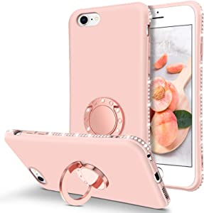 BENTOBEN iPhone 6S Case, iPhone 6 Case, Slim Silicone Soft Rubber with 360° Ring Holder Kickstand Shockproof Bumper Protective Stylish Phone Cases Cover for Apple iPhone 6S / iPhone 6 4.7 Inch, Pink