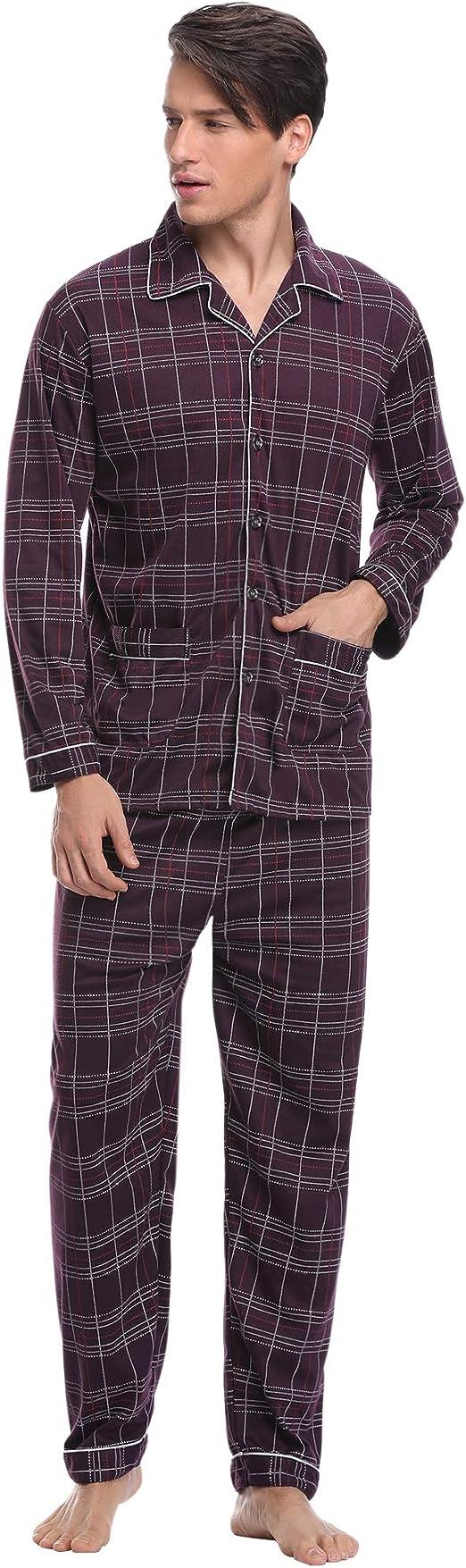 Aibrou Pijama Hombre Invierno Algod/ón,Pijamas de casa con Boton Ropa de Dormir Casual 2 Piezas Suave y C/ómodo