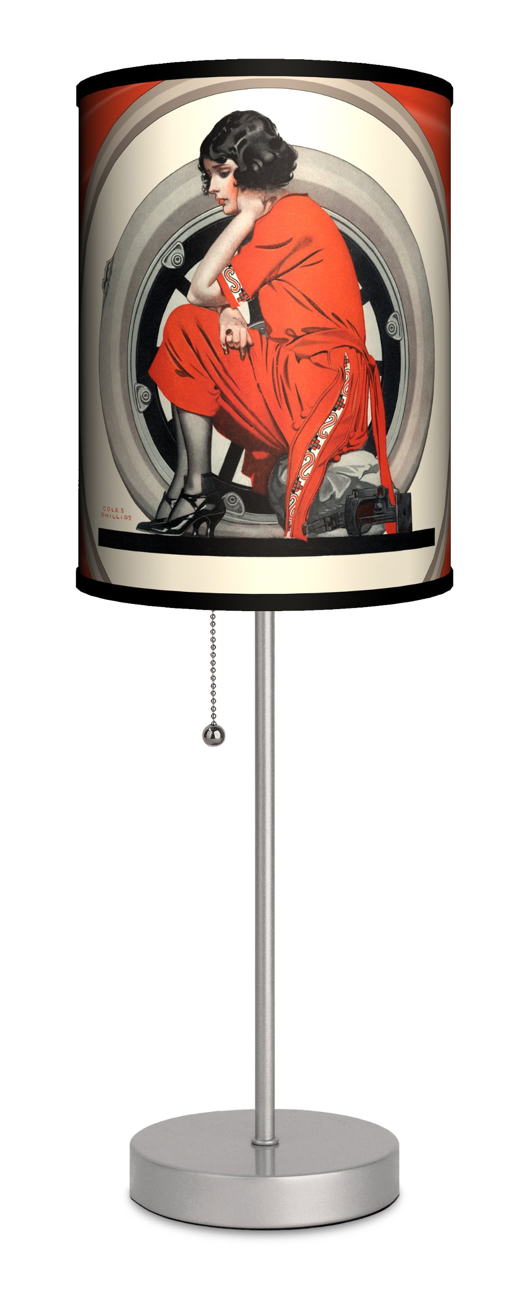 Saturday Evening Post - Woman in Red Sport Silver Lamp
