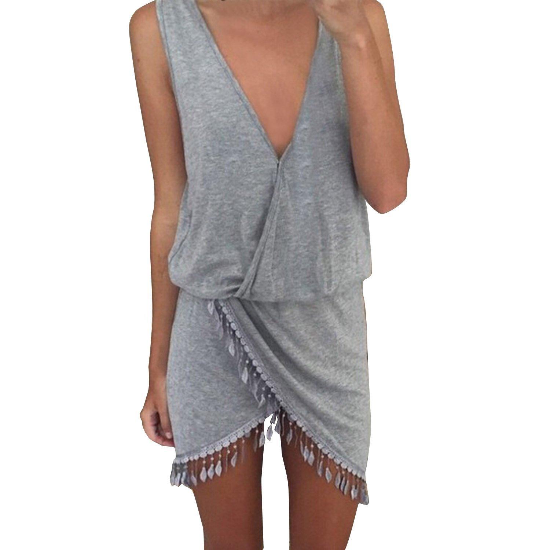 SUNNOW® Damen Sommerkleid Strandkleid Sexy V-Ausschnitt Retro Unregelmäßig Rock Frauen Partykleid Abendkleid Cocktailkleid