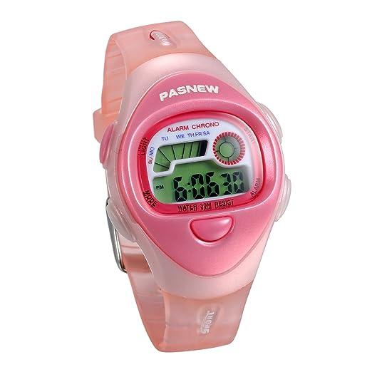 JewelryWe Relojes para Niños Niñas Reloj Deportivo Digital Para Aire Libre Reloj Infantil De Colores Correa de Silicona Suave Color Rosa para el Verano: ...