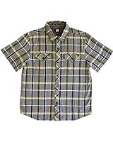 Toes on the Nose Men's Purpus Short-Sleeve Woven Shirt, Navy Plaid (Medium)