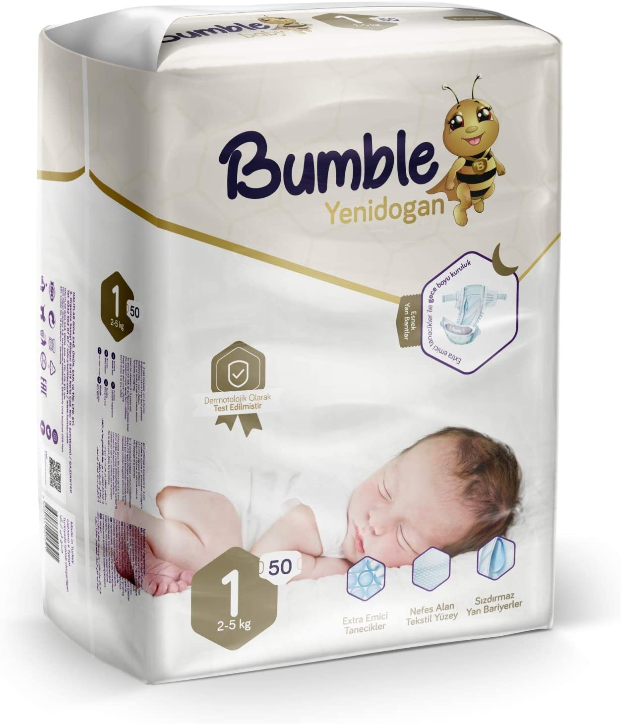 Bumble Baby Diapers, Size 1 2-5KG 50 Counts drip Proof barriers, Textile Surfaces, Absorbing Particles, Ultra-Flexible Side Grip Strips (1)