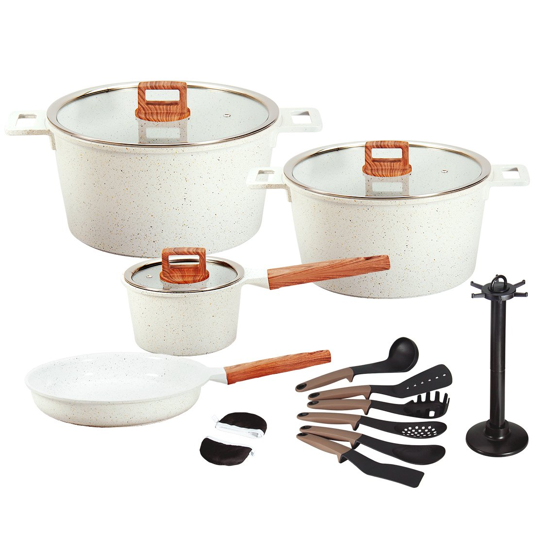 Ceramic Cookware Set Dishwasher Safe Scratch Resistant PFOA Free Nonstick Induction Kitchen Aluminum Cookware Set with Cooking Utensil Pack -16 (WHITE)