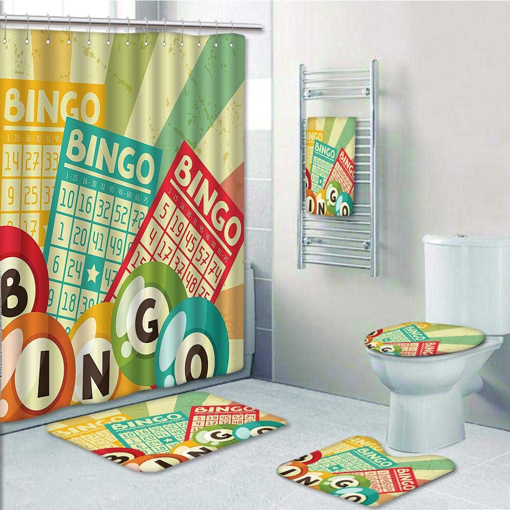 Designer Bath Polyester 5-Piece Bathroom Set, Bingo Game with Ball and Cards Pop Art Stylized Lottery Hobby Celebration Theme Print bathroom rugs shower curtain/rings and Both Towels(Medium size) by PRUNUS