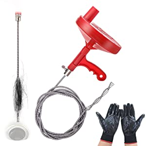 Dr.Drain VEDRAU01A1 Augers Plumbing Snake Pipe Cleaner Household Spring Cable with Gloves, Red