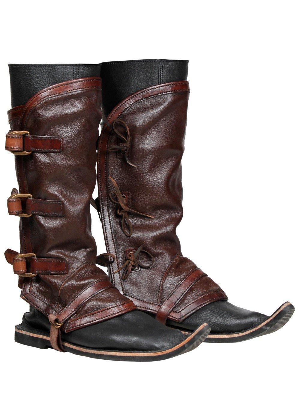 1 Paar Hochwertige Gamaschen aus Leder Lederstiefel LARP Rüstung Schwarz oder Braun