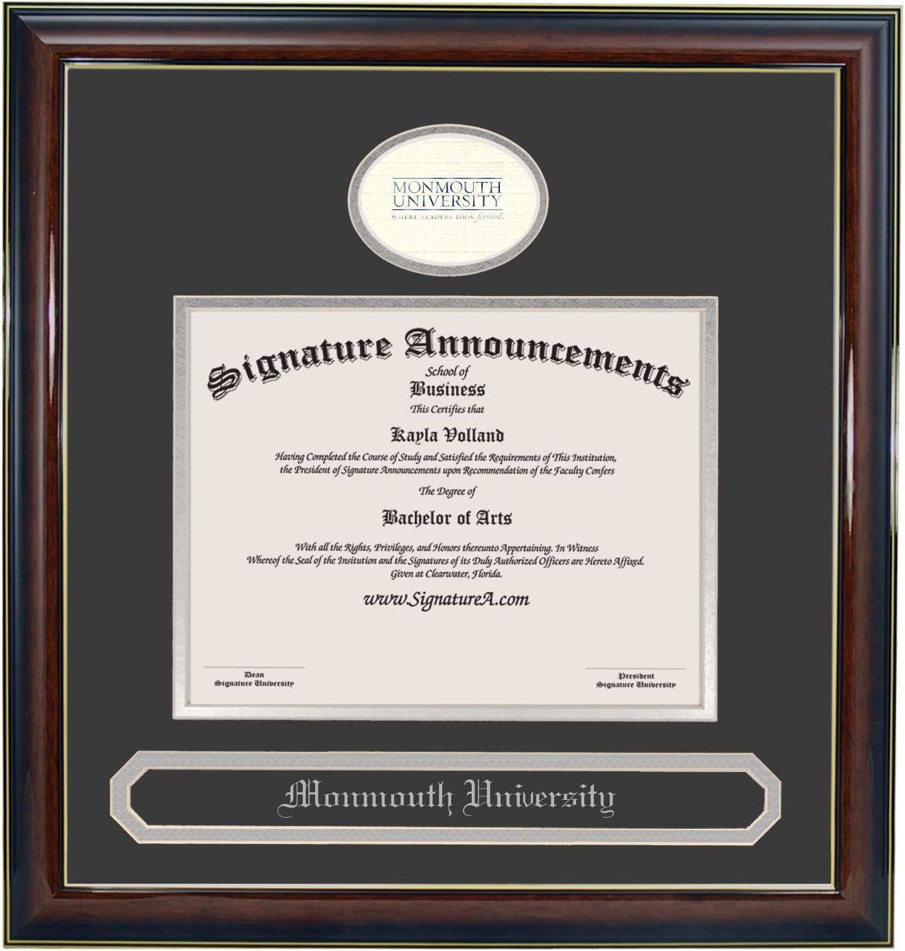 16 x 16 Signature Announcements Monmouth-University Undergraduate Gold Accent Gloss Mahogany Professional//Doctor Sculpted Foil Seal /& Name Graduation Diploma Frame