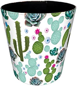HMANE Wastebasket, 4.5L British Style Trash Bin Household Uncovered Garbage Can Wastebasket - (Cactus-1 Pattern)