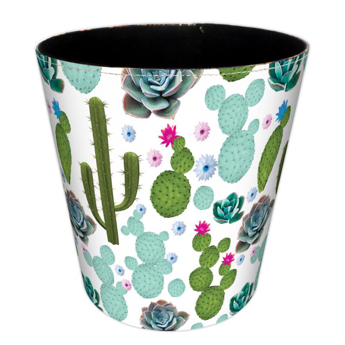 Wastebasket, Hamne 7.48x7.48x7.48Inch British Style Trash Bin Household Uncovered Garbage Can Wastebasket - (Cactus-1 Pattern)