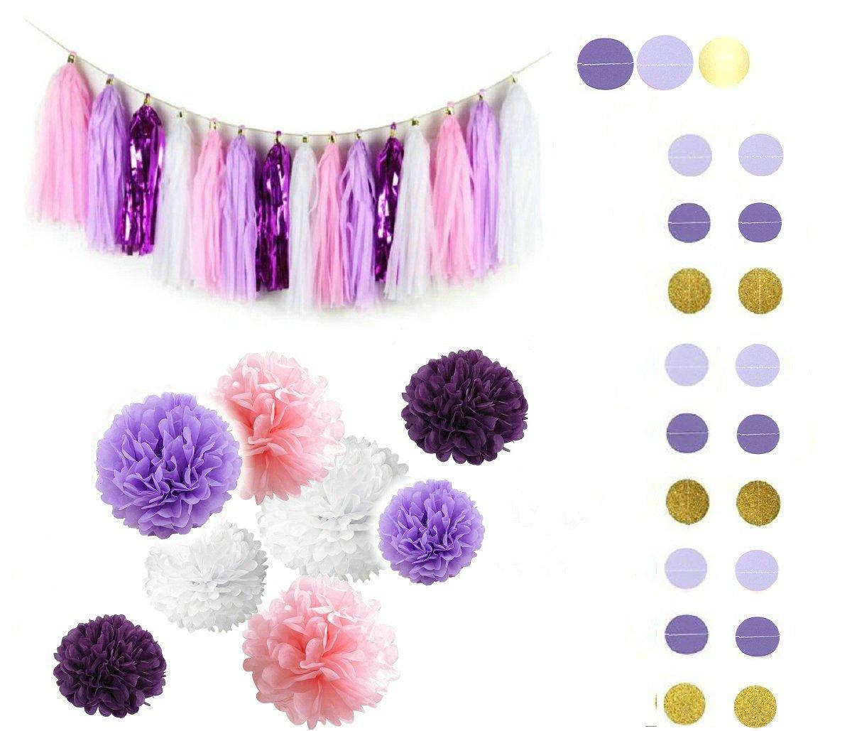 Fascola 30ps Purple Lavender Baby Pink White Baby Shower Tissue Paper Pom  Pom Paper Tassel Garland First Birthday Decorations Purple Bridal Shower ...