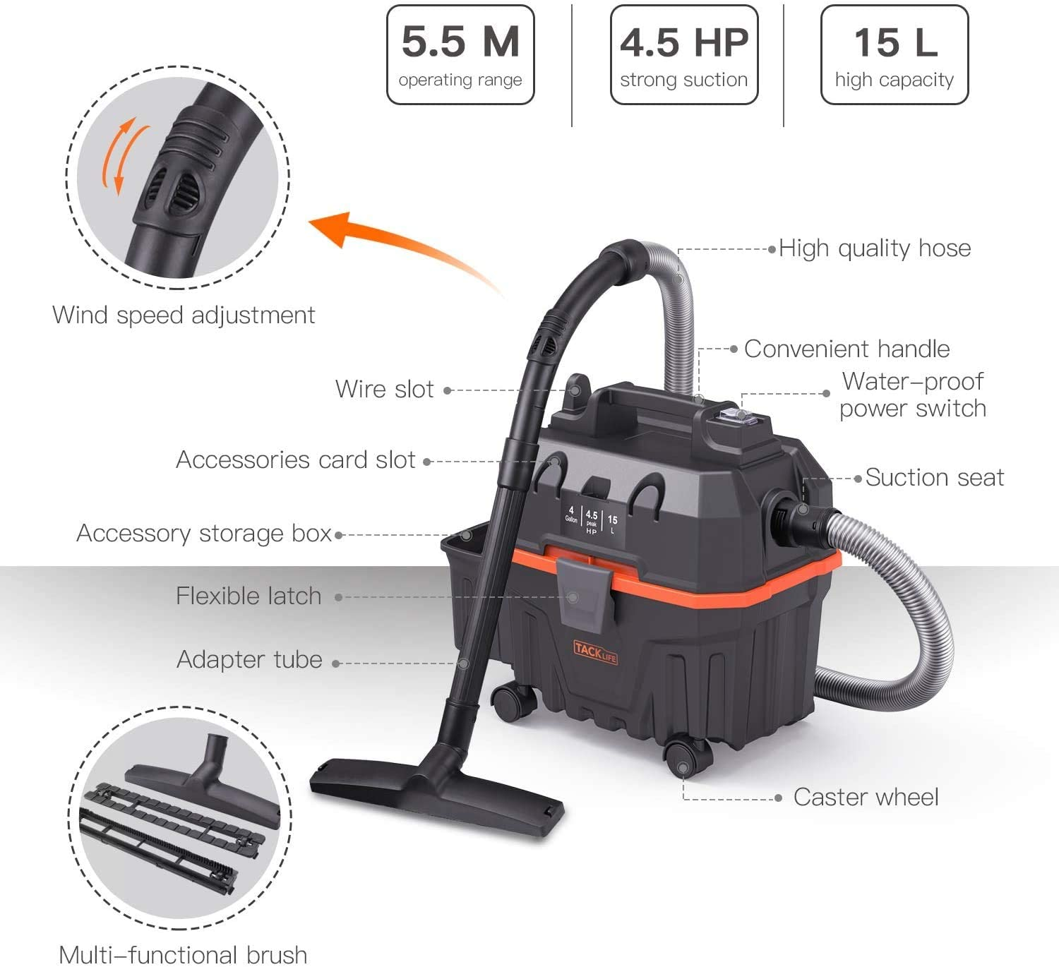 Shop Vac TACKLIFE Wet and Dry Vacuum Suitable for or Job Site,Garage,Basement,Van,Workshop,Vehicle 4.5 Peak Hp 4 Gallon Bagless Wet Suction//Dry Suction//Blowing 3 in 1 Function 1200W