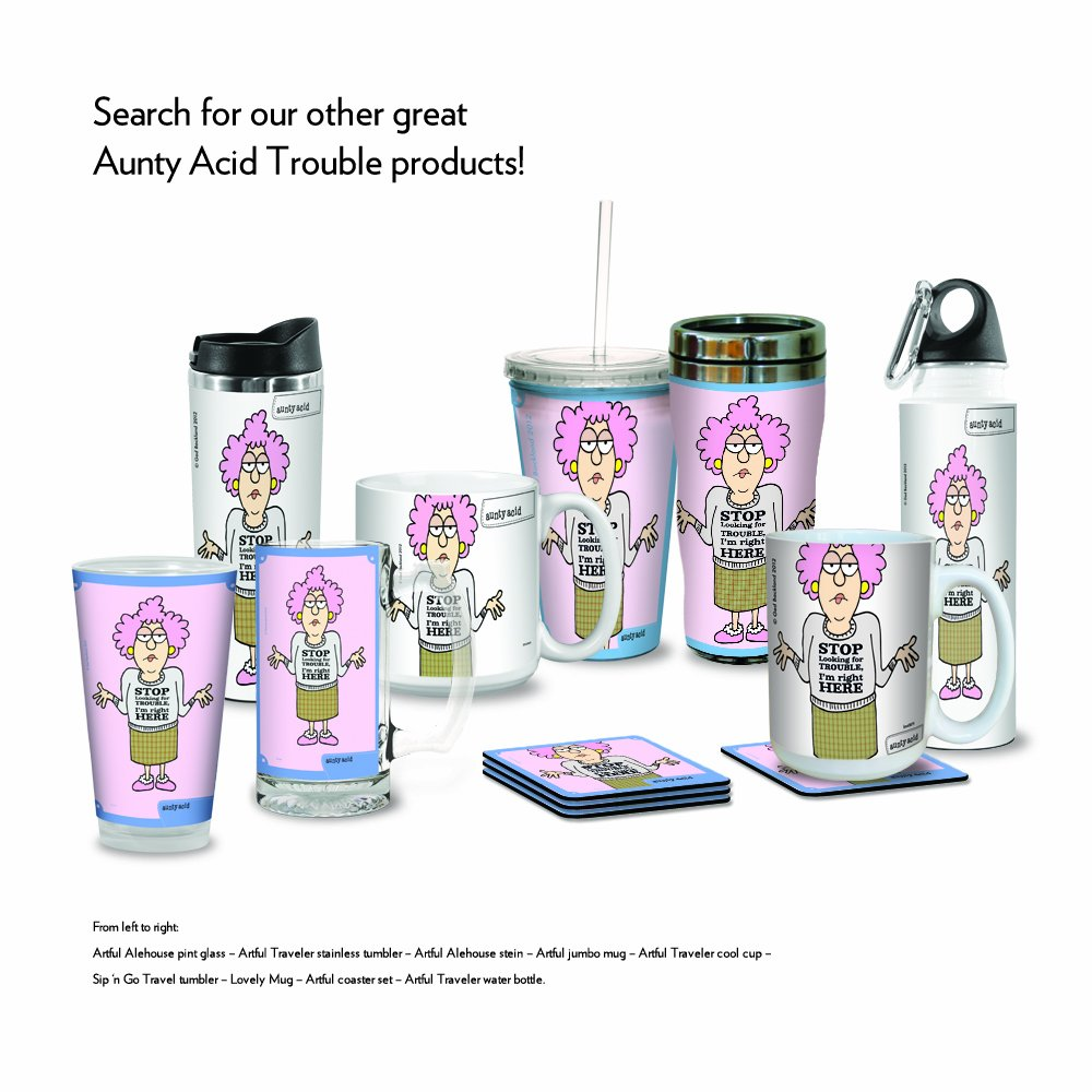 Tree-Free Greetings VB47875 Aunty Acid Artful Traveler Stainless Steel Water Bottle 18-Ounce Trouble