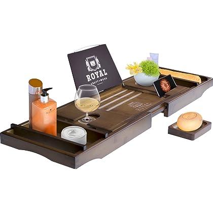 Royal Craft Wood Luxury Bamboo Bathtub Caddy Tray Free Soap Holder