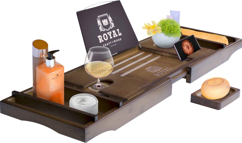 Royal Craft Wood Luxury Bamboo Bathtub Caddy Tray, FREE Soap Holder (BROWN) SYNCHKG109245