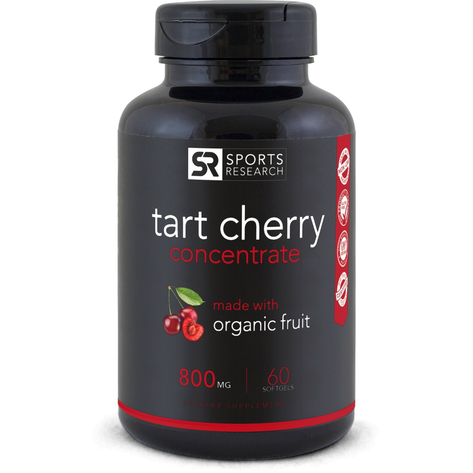 Tart Cherry Concentrate - Made from Organic Cherries; Non-GMO & Gluten Free; Packed with Antioxidants and Flavonoids - 60 Liquid Softgels, 2 Month Supply!
