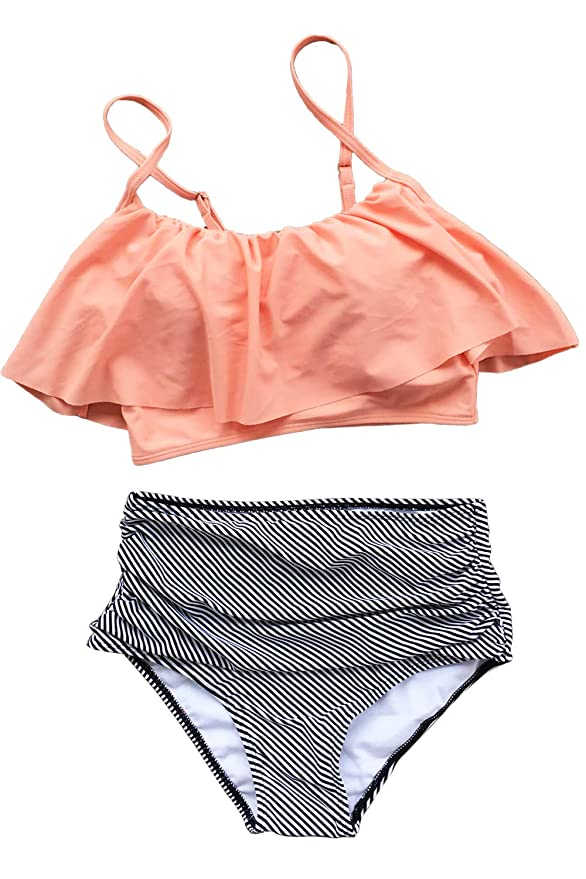 CUPSHE Fashion Women's Falbala High-waisted Bikini Set X-Large Pink Orange
