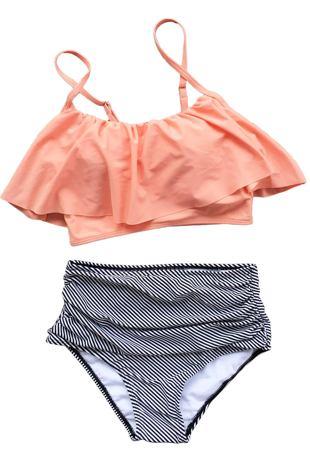 Cupshe Fashion Women Falbala High-waisted Bikini Set (M), Pink Orange