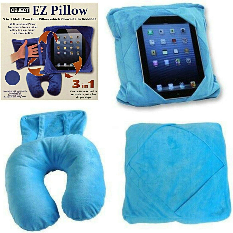 Kids Tablet Holder Car Mount Travel Neck Cushion 3 in 1 Smart Pillow Bean Bag Blue