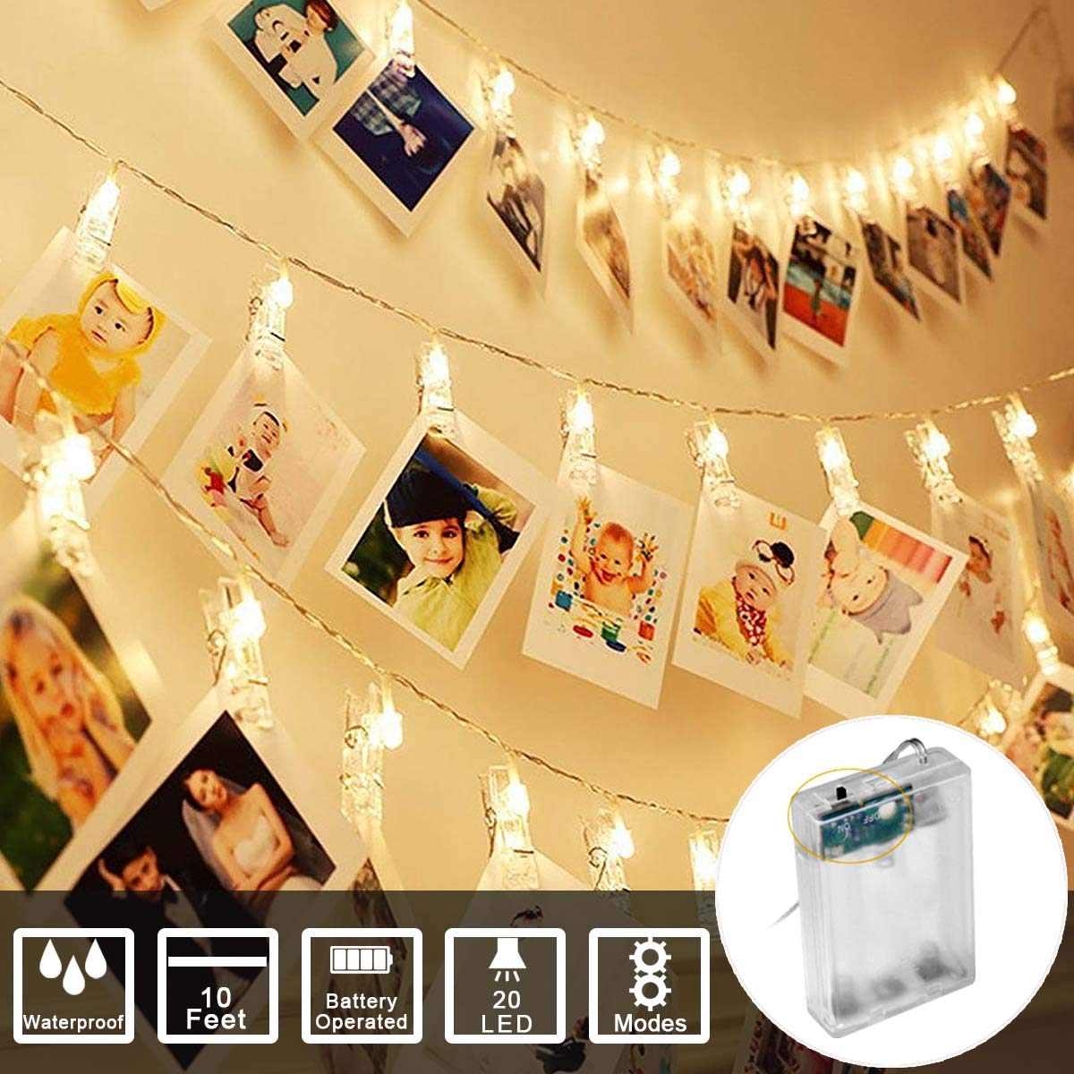 Sunmid String Lights Photo Clip Lights String Battery Operated Fairy LED Lights for Photo Memos Card Clip Holder in Bedroom for Graduation Birthday Wedding Christmas Party (10Feet 20Led, Warm White)