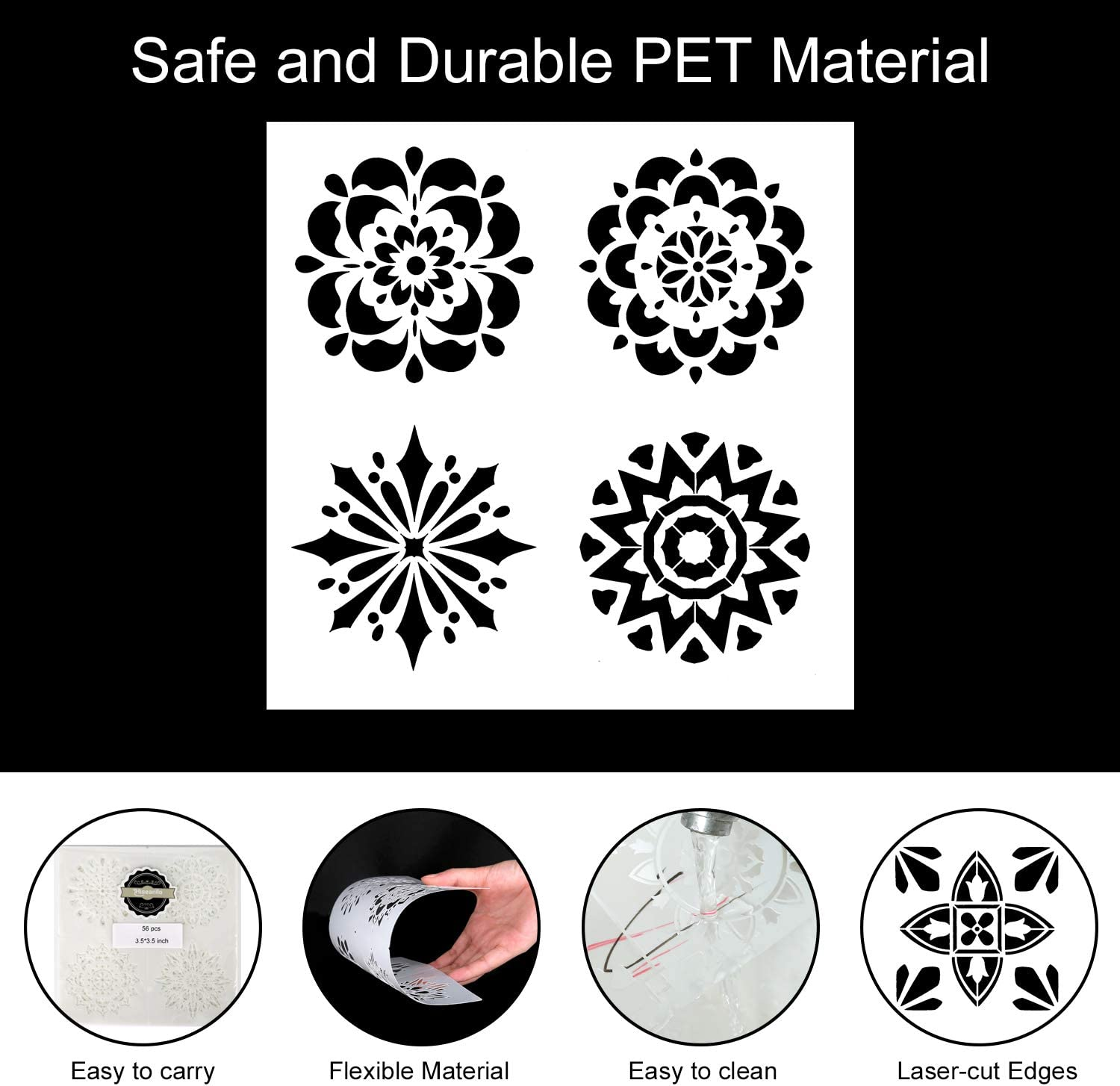 Hiseanllo 56 Patterns Mandala Dot Painting Templates Stencils Reusable Painting Dotting Tools Template for Drawing on Wood DIY Stone Furniture Floor Tiles Walls Art Projects 3.5 X 3.5inch