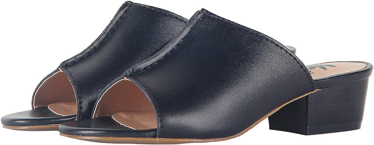purchase cheap sleek various colors 4THSEASON Womens Mules Block Heel Sandals Chunky Shoes: Amazon.co ...