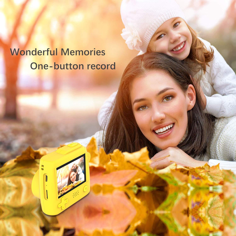 Winnovo Macchina Fotografica per Bambini P10 2 Pollici Digitale Portatile Fotocamera for Kids Girls, Mini Videocamera 5MP /con Scheda SD da 32GB (Giallo)