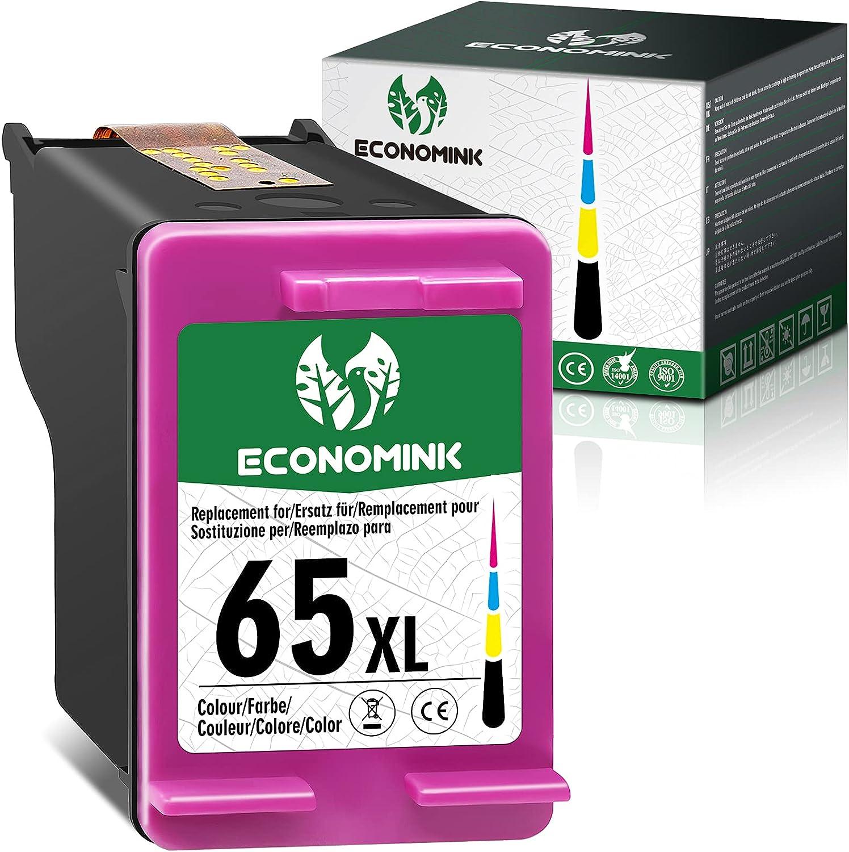 Economink Remanufactured 65 Color Ink Cartridge Replacement for HP 65XL 65 XL for Envy 5052 5055 5012 5010 5020 5030 DeskJet 2600 2622 2652 3722 3755 3752 2640 2635 2636 AMP 120 100 (1-Tri-Color)