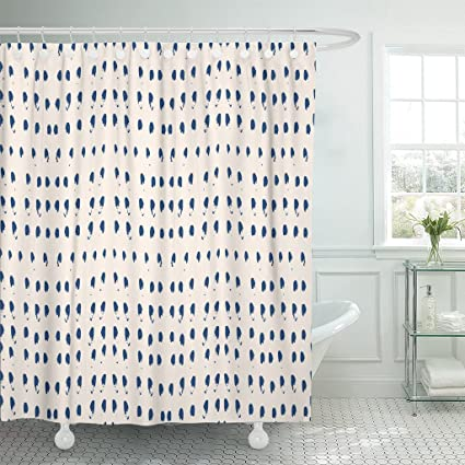 Emvency Shower Curtain Organic Tie Dye Shibori Ink Japanese Modern Batik Watercolor Indigo Endless Folk Abstract