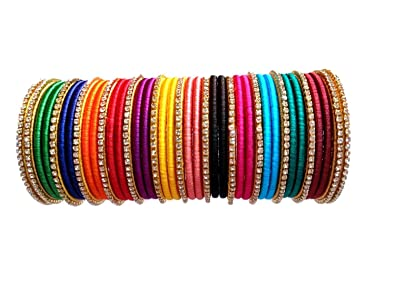 0441b89fe3404 Kuhuk Multi-Color Silk Thread Bangle Set for Women: Amazon.in: Jewellery