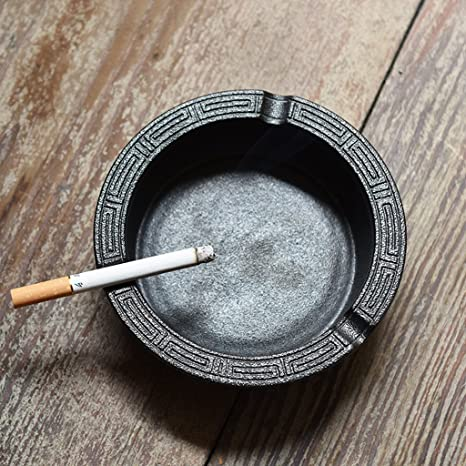LT&NT Cenicero de cerámica Cenicero de cigarrillos Fumadores Escritorio Bandeja de ceniza de fumar 2 ranuras