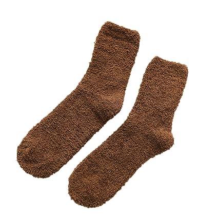 Haodou Toalla Tobillo Calcetines Espesar Caliente Fuzzy Terry Elástico Terciopelo de Coral Corto para La Primavera
