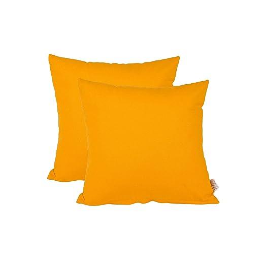 Edaygo Funda de cojín de algodón, 40 x 40 cm, Naranja, 2 ...