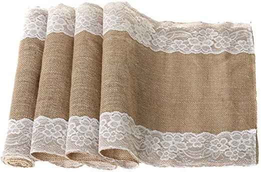 """12/"""" X 108/"""" Burlap Lace Table Runner Natural Jute Rustic Wedding Party Decoration"""