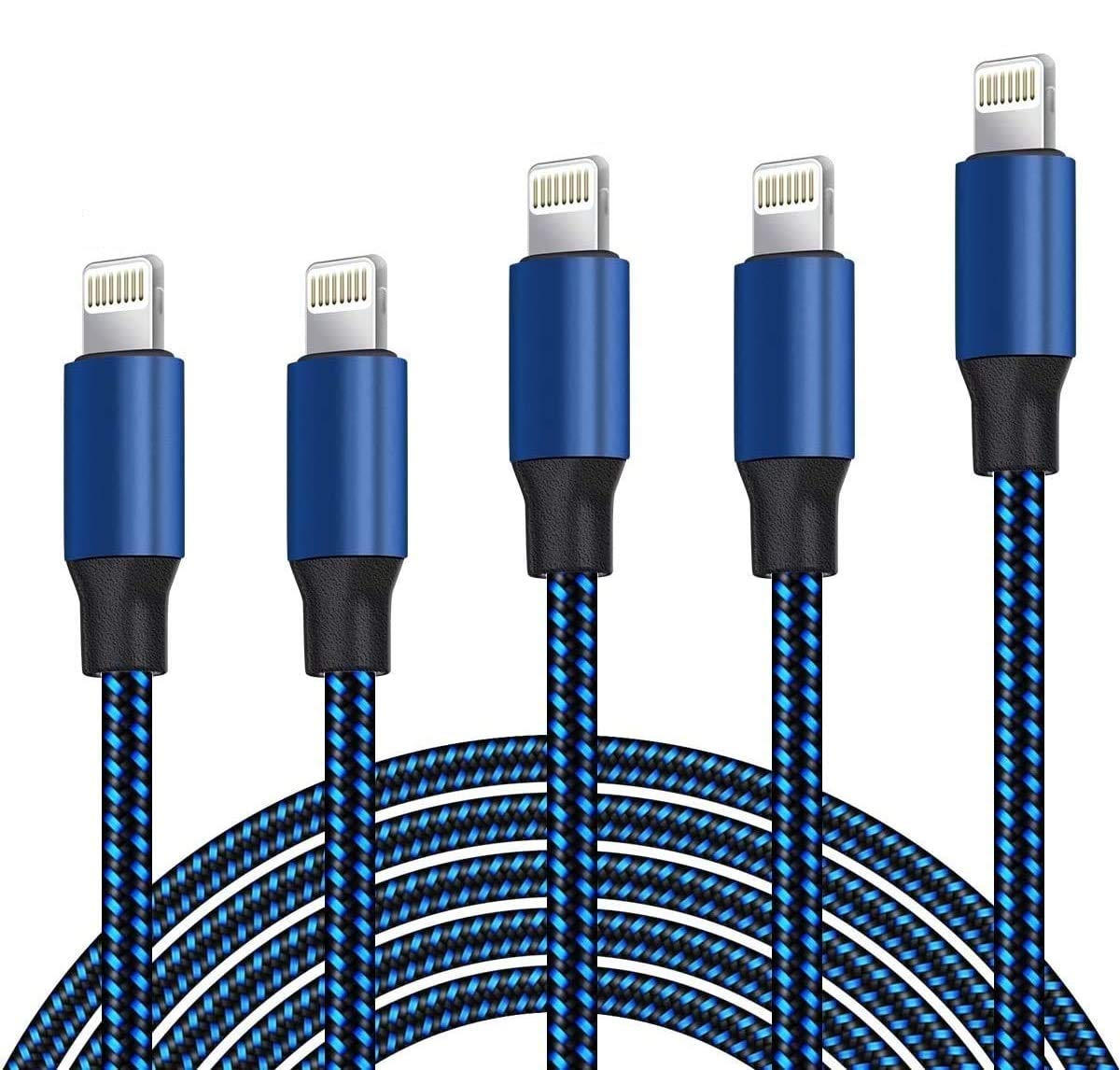 DNLM iPhone Charger Cable, 5Pack (3ft 3ft 6ft 6ft 10ft) Apple MFi Certified Braided Nylon Fast Charger Cable Compatible iPhone Max XS XR 8 Plus 7 Plus 6s 5s 5c Air iPad Mini iPod (Black & Blue)