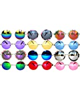 Retro Round Circle Colored Vintage Tint Sunglasses Metal Frame Spring hinge OWL