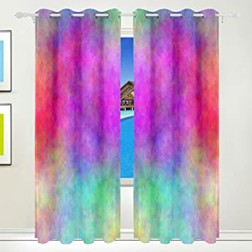 MAPOLO Abstract Rainbow Watercolor Curtains Room Darkening Thermal Insulated Blackout Window Panel Drapes For Living