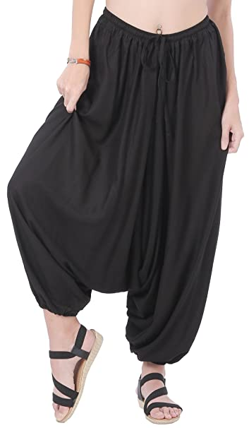 f32574a0d88 CandyHusky Men Women Summer Baggy Hippie Boho Gypsy Yoga Harem Pants One  Size (Black)