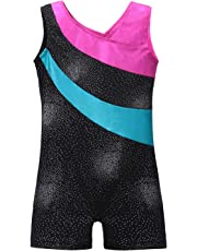 Leotards for Girls Gymnastics with Shorts Sparkle Butterfly Flowers Pattern Sleeveless Biketards Hotpink Black