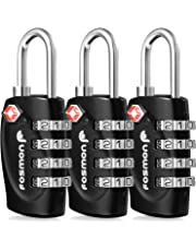 TSA Approved Luggage Locks, Fosmon 4 Digit Combination Padlock Codes Alloy Body for Travel Bag, Suit Case, Lockers, Gym, Bike Locks or Other
