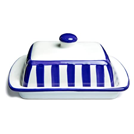 Traditional Porcelain Enamel Charcoal Grey Vintage Butter Dish Tray With Lid UK