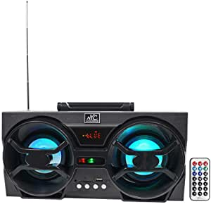 "NYC Acoustics NPB3 Dual 4"" Portable Bluetooth Boombox Speaker+USB/SD/LED+Remote"