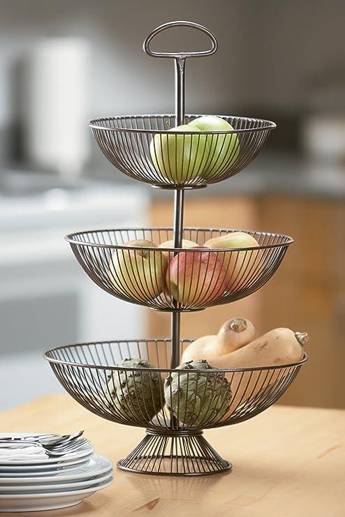 KINDWER 3 Tier Decorative Wire Basket Stand, 24 Inch, Brown