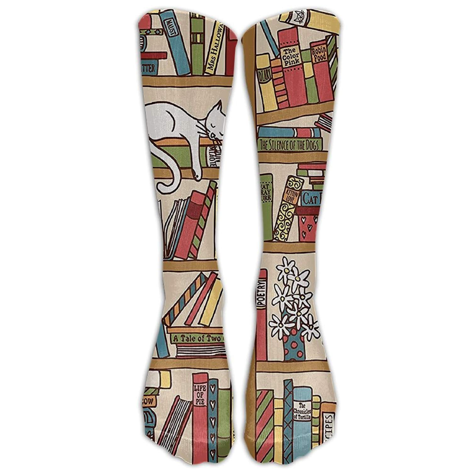 pigyear888 Style Unisex Socks Casual Knee High Stockings Nerd Book Lover Kitty Sleeping Over Bookshelf In Library Cotton Socks One Size 8723027390900