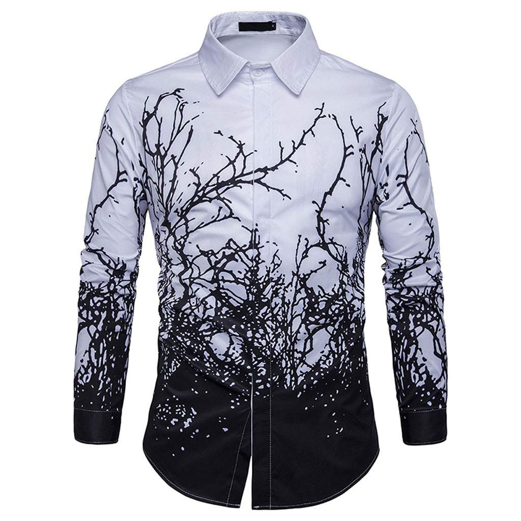 BUKEZH Mens Fashion Turn-Down Slim Blouse Long Sleeve Printed Shirt